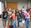 Students having their picture taken in San Jose, Costa Rica