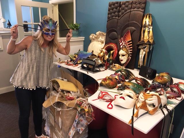 Woman wears Croatian masquerade mask