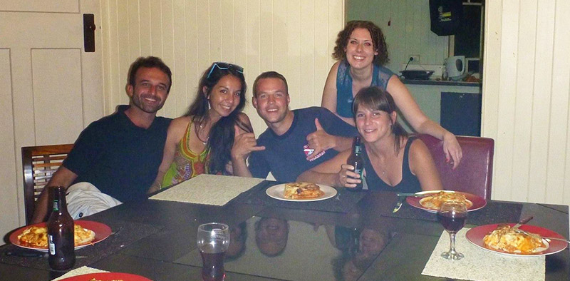 Friends enjoying dinner in Townsville, Queensland.