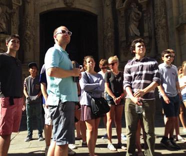 Leading students through La Parte Vieja in San Sebastian