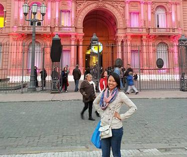 Angela in Front of the Casa Rosada in Buenos Aires.