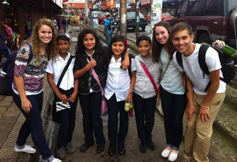Students with local kids in Argentina