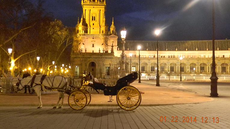 Carriage in La Plaza de España in Seville, Spain