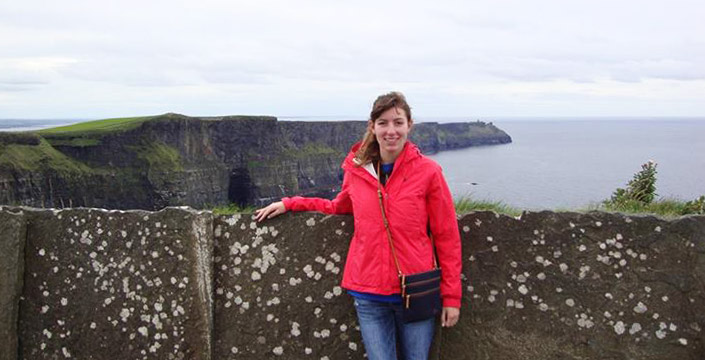 A student posing for a photo during a study abroad program in Ireland.