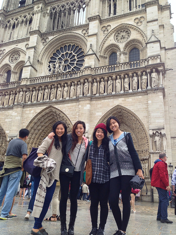 Students in front of Notre Dame cathedral in Paris, France
