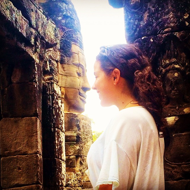 Face-to-face with a statue in Angkor Wat, Cambodia