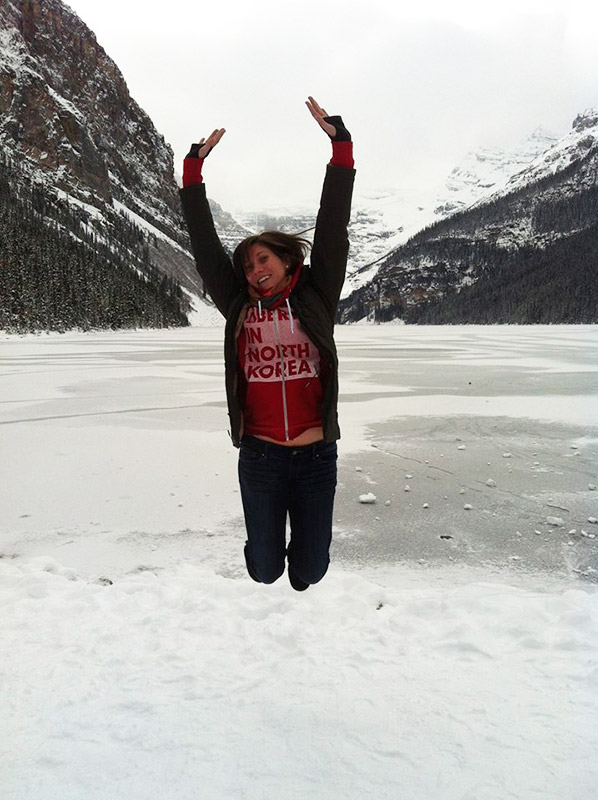 Jumphot of a girl in Canada.