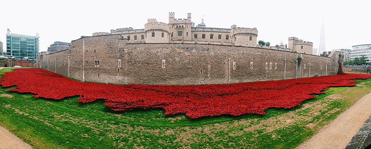 Ceramic poppies surround the Tower of London in remembrance of Britains involvement in World War I