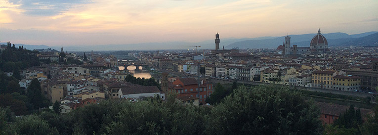 Sunset at Piazzale Michelangelo overlooking Florence, Italy