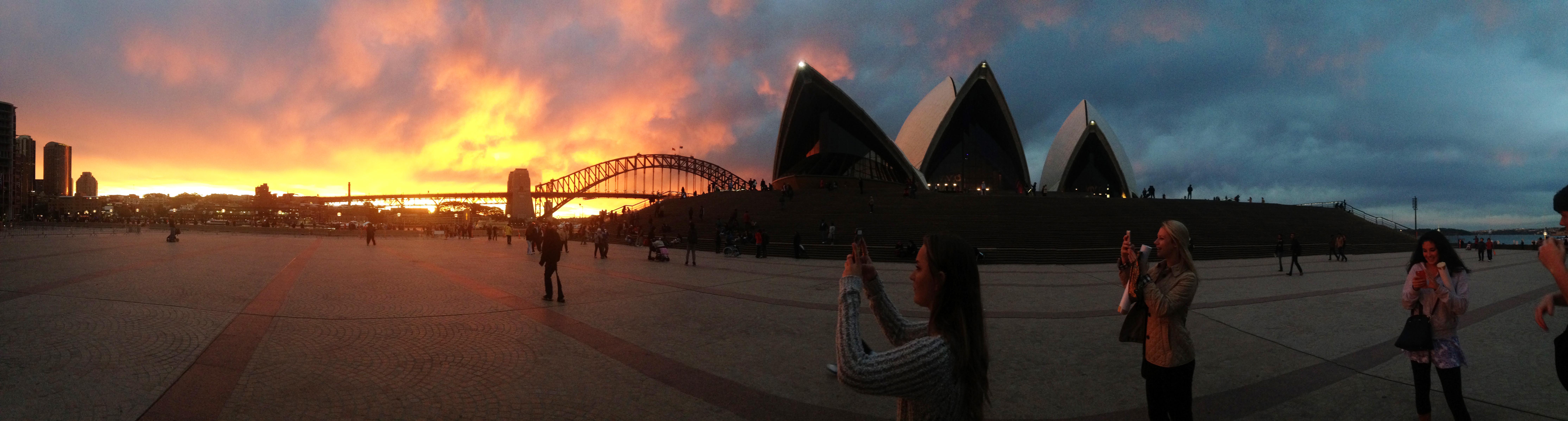 Sydney Harbor Bridge and Opera House at sunset