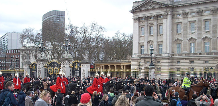 Changing of the guards ceremony at Buckingham Palace in England