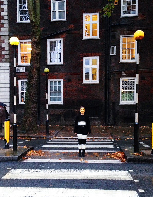 An international student in a zebra crossing pole Halloween costume