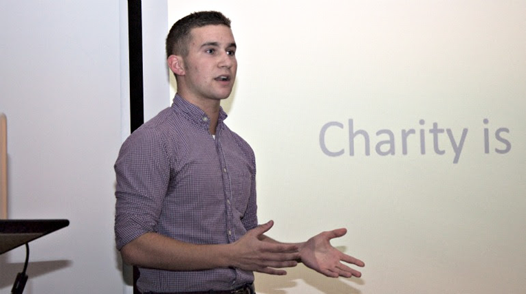 Students presenting in front of a class