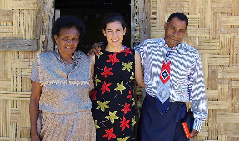 Volunteer with host parents in Nasivikoso, Fiji