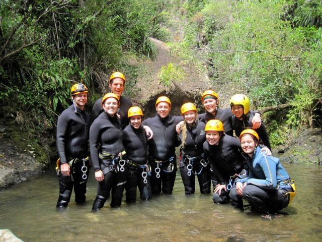 Study abroad students canyoning