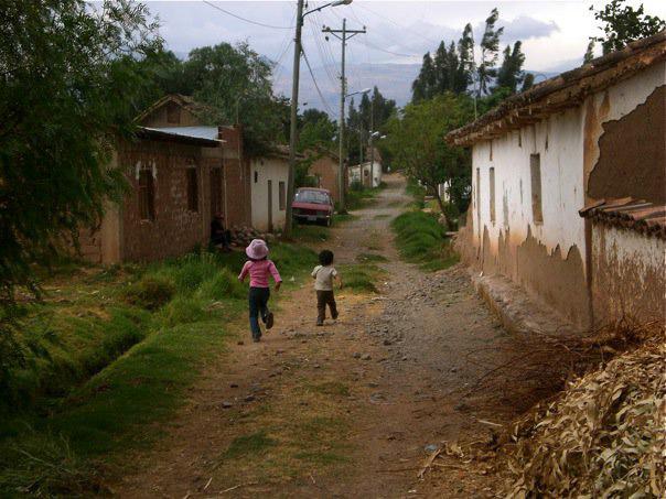 Children running in Malcorancho, Bolivia