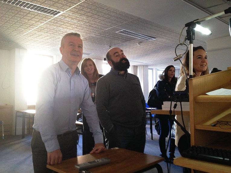 CEA Study Abroad staff preparing a presentation