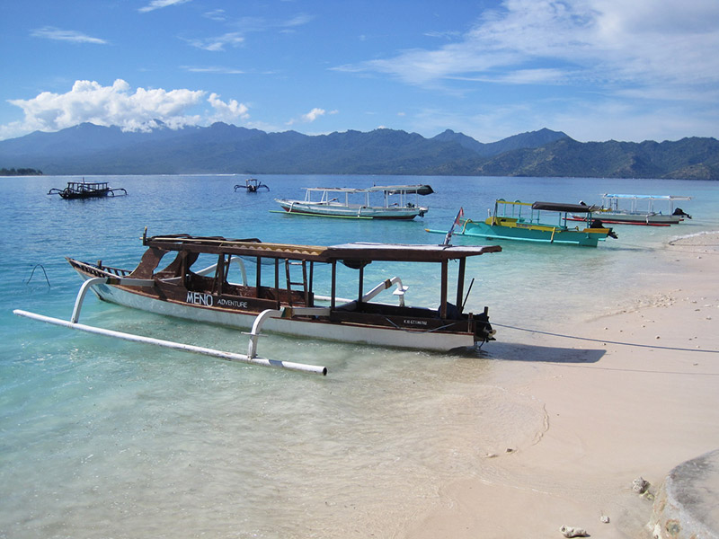 A beach on the island of Gili Meno in Bali, Indonesia