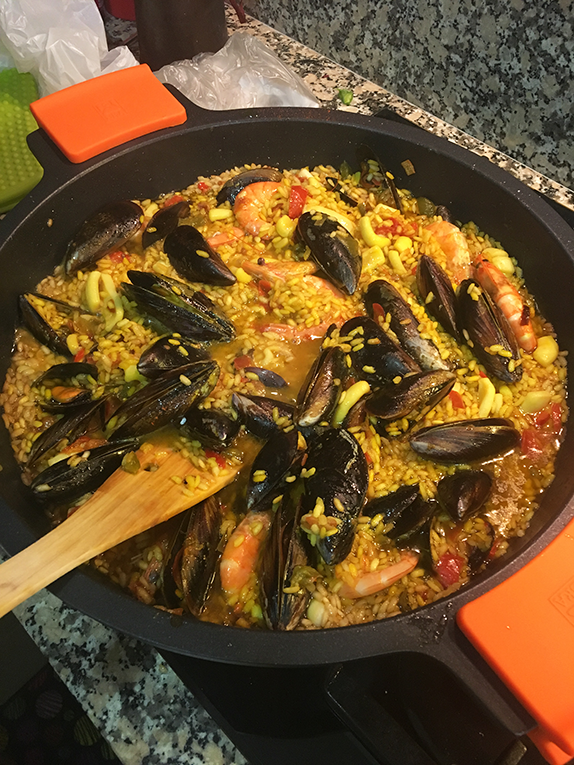 Paella, traditional Spanish dish.