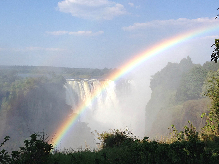 Rainbow at Victoria Falls in Zimbabwe