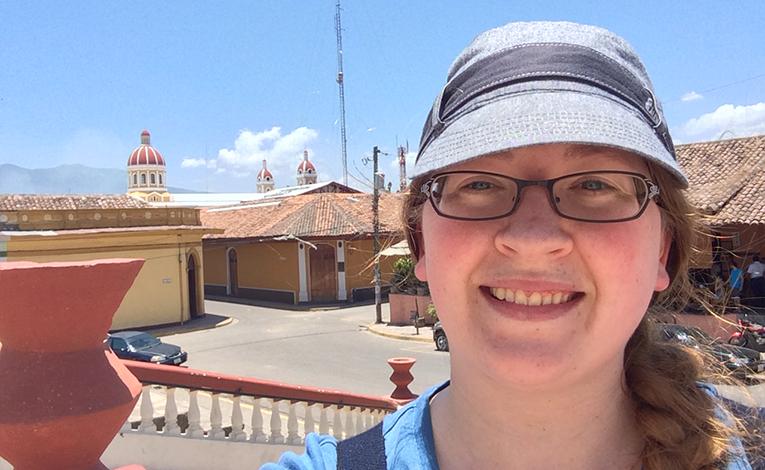 Tourist taking a selfie in Granada, Nicaragua