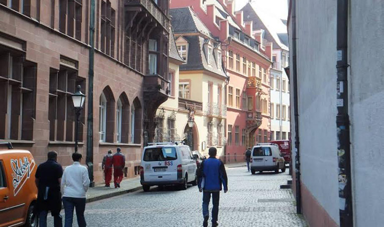 Cobblestone streets in Freiburg