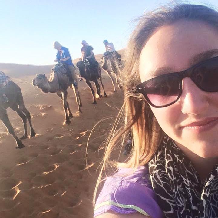 Camel riding in the Sahara Desert