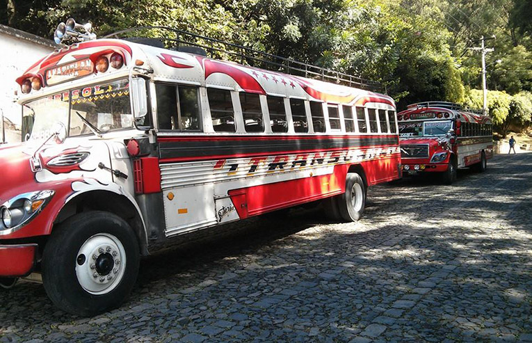 Chicken buses in Guatemala