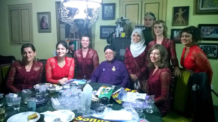 Royal family members with foreigners in Java, Indonesia