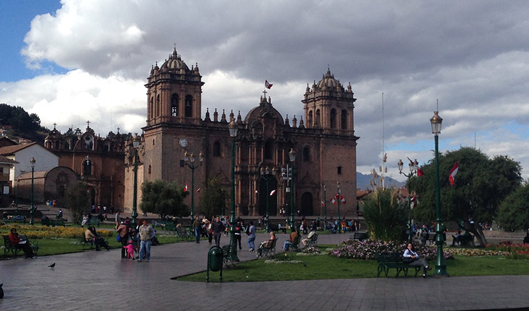 Cathedral at Plaza de Armas in Cusco, Peru