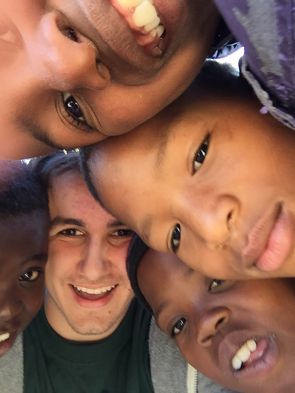 Volunteer with children at Khayelitsha, Western Cape, South Africa
