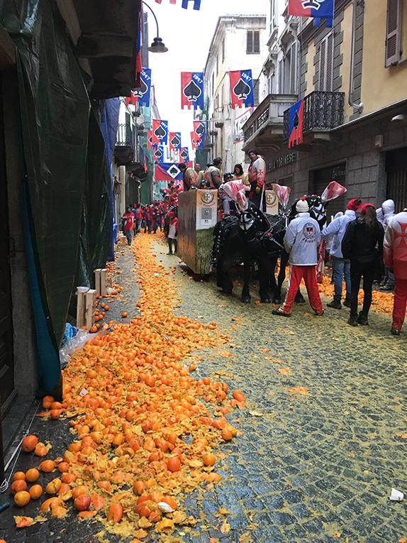 Ivrea Orange Throwing Carnival in Italy