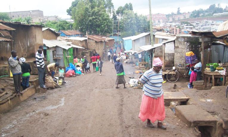 A street in the slum of Kibera in Kenya