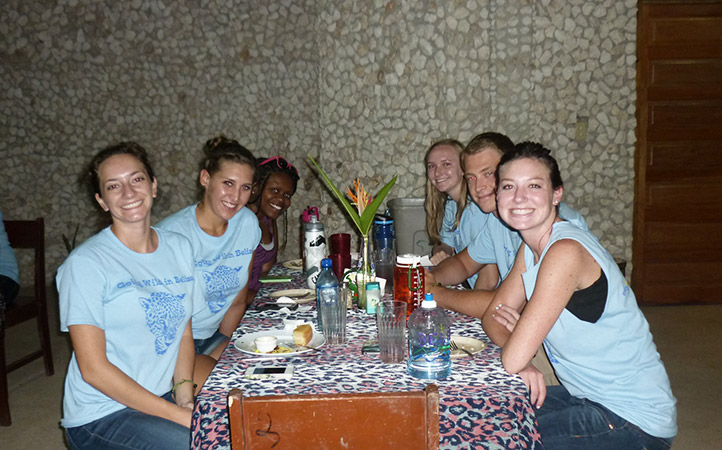 ISIS students at a dinner in the Tropical Education Center in Belize.