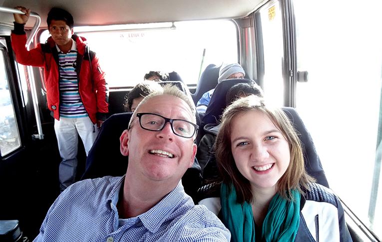 Riding a bus in Cusco, Peru