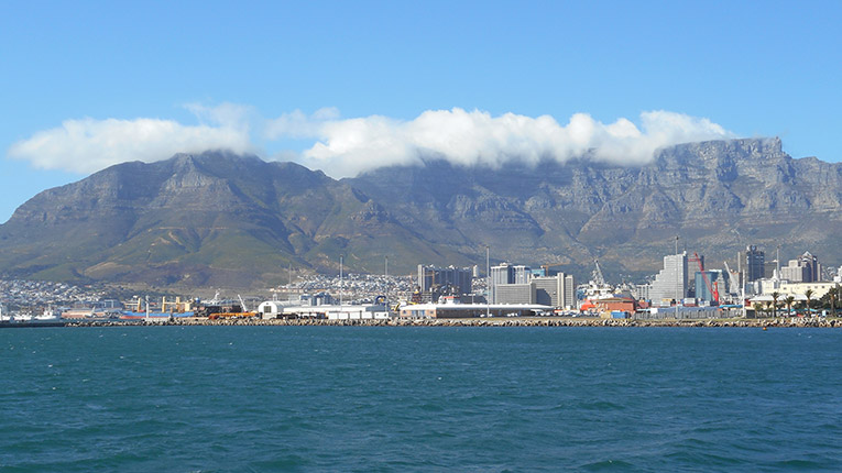 View of Cape Town, South Africa from the Atlantic Ocean