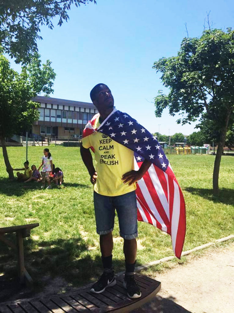 American man celebrating the Fourth of July in Italy