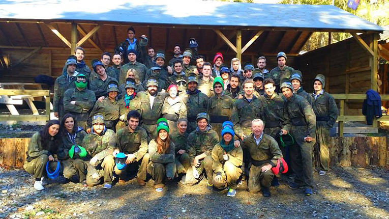 Students dressed for paintball