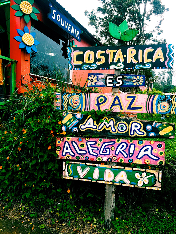 Peace, Love, Joy, and Life sign in Costa Rica