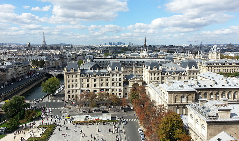 A view of Paris from the top of Notre Dame
