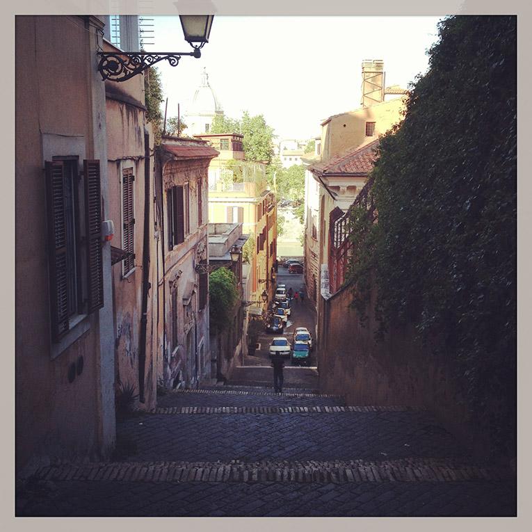 Narrow street in Rome, Italy