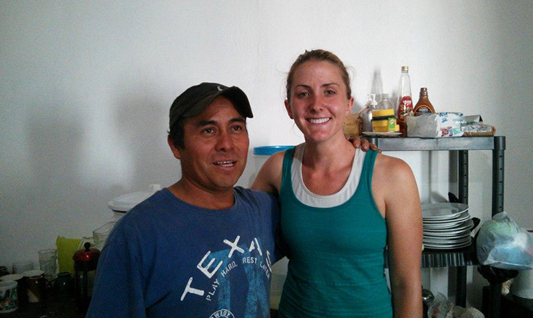 Volunteer in Guatemala with a local farmer