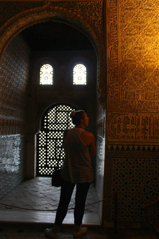 Study abroad student near the Alhambra in Grenada, Spain