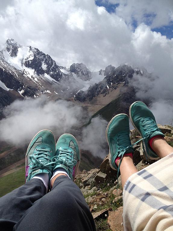 Hiking in Shymbulak Resort in the mountains near Almaty City, Kazakhstan