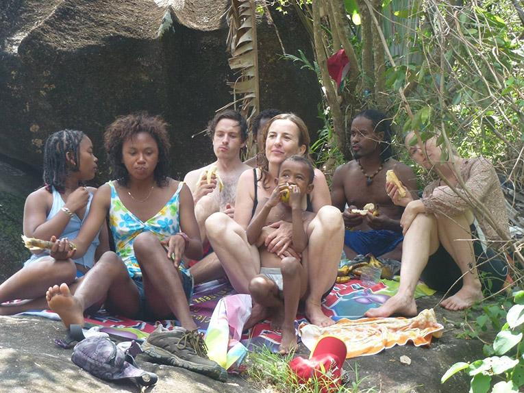 Volunteers in Madagascar sharing a picnic at Domain de la Cascade