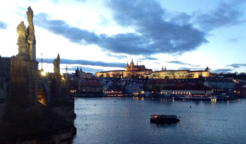 A beautiful view of Prague and the Vltava at dusk