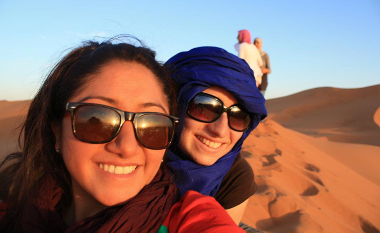 Tourists in the Sahara desert