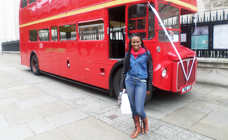 Iconic double-decker bus in London