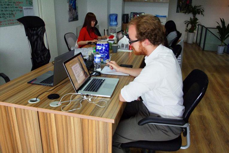 Matt Piechocki at the ImmerQi office in Beijing, China