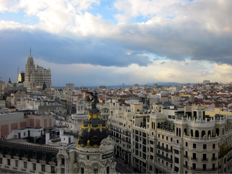 A view of Madrid from the rooftop of Circulo de Bellas Artes.